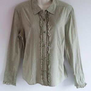 Sonoma Muted Green Praire Style Print Top